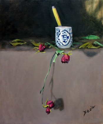 Still life with dead roses, knife & cup